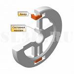 Анкер (пример применения) :: С-образная деталь разъёмного маховика или шкива, устанавливаемая в нагретом состоянии и обеспечивающая при остывании стягивание соединяемых частей