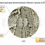 Белый эвтектический чугун :: Чугун с концентрацией углерода 4,3±0,1 %