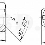 Корончатая гайка.Исполнение 1 :: Гайка, имеющая на одном торце кольцевой выступ с радиальными прорезями под шплинт