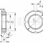 Шлицевая круглая гайка :: Круглая гайка с прямоугольными пазами на внешней цилиндрической поверхности под гаечный ключ