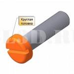 Круглая головка :: Головка (болта или винта) с цилиндрической поверхностью, имеющей либо насечку, либо прорезь на торце под отвёртку