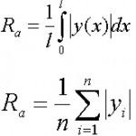Cреднее арифметическое отклонение профиля :: Среднее арифметическое абсолютных значений отклонений профиля в пределах базовой длины