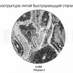 Быстрорежущая сталь :: После завершения кристаллизации образуются дендриты с ферритной сердцевиной и аустенитной оболочкой