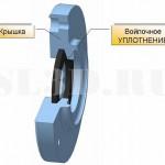 Войлочное уплотнение :: Уплотнение подвижного контакта в виде войлочного кольца, установленного в канавку трапецеидального сечения